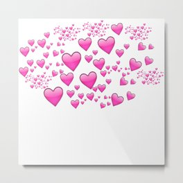 Pink Heart Emoji Collage Metal Print