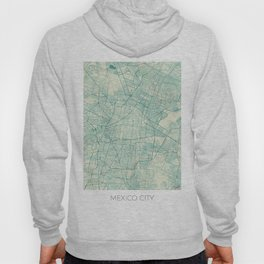 Mexico City Map Blue Vintage Hoody
