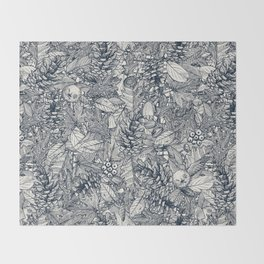 forest floor indigo ivory Throw Blanket