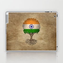Vintage Tree of Life with Flag of India Laptop & iPad Skin