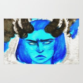 Devil With A Blue Face On Rug