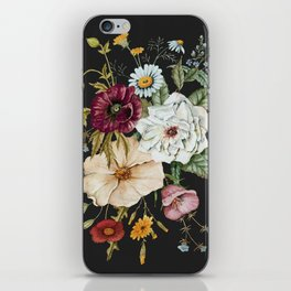 Colorful Wildflower Bouquet on Charcoal Black iPhone Skin