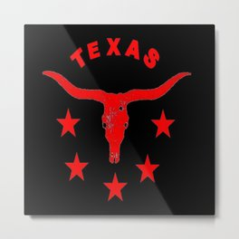 Western Texas Longhorn Logo Red & Black Pattern Art Metal Print