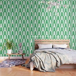 Art Deco Jagged Edge Pattern Green Wallpaper