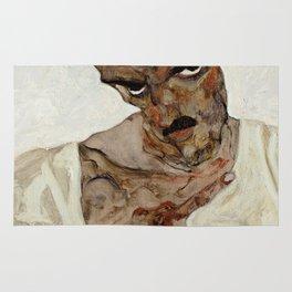 "Egon Schiele ""Self-Portrait with Lowered Head"" Rug"