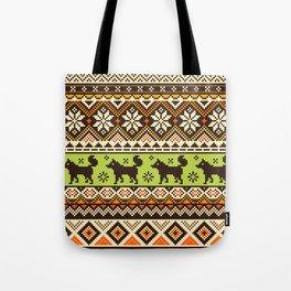 Knit Fox Pattern Tote Bag