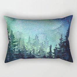 Galaxy Watercolor Space Night Sky Nebula Painting Aurora Rectangular Pillow