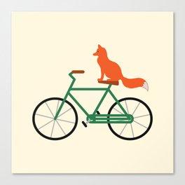 Fox Riding Bike Canvas Print