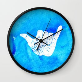 Surf Hang Loose Hawaiian Ocean Blue Hip Watercolor Wall Clock