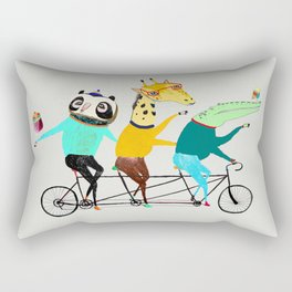 Animals biking. bike art, bike decor, bikes. Rectangular Pillow