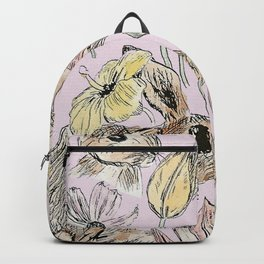 rabbits and flowers with color Backpack