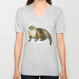 River Otter Watercolor Unisex V-Neck