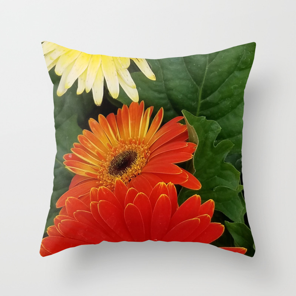 Flowers, Red And Yellow Flowers Throw Pillow by Fas925 PLW8858224