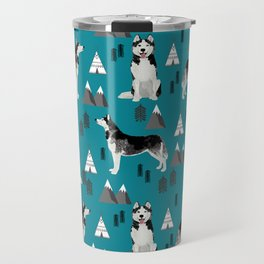 Husky siberian huskies mountains pet portrait dog dogs pet friendly dog breeds gifts Travel Mug