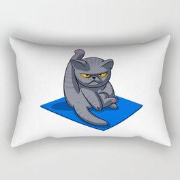 Yoga cat - Angry cat - grey cat - fat cat Rectangular Pillow