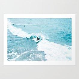 Wave Surfer Turquoise Art Print