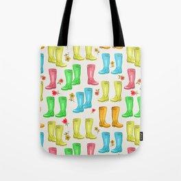 Wellies and Flowers Rainboot Print Tote Bag