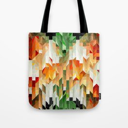 Geometric Tiled Orange Green Abstract Design Tote Bag