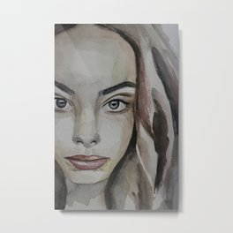 watercolor portrait beautiful girl Metal Print