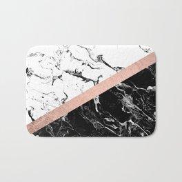 Modern black white marble color block rose gold Bath Mat