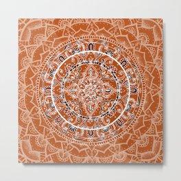 Detailed Burnt Orange Mandala Metal Print