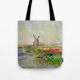 "Claude Monet ""Tulip field in Holland (Champ de tulipes en Hollande)"" Tote Bag"