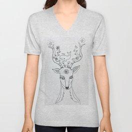 whale minded deer Unisex V-Neck