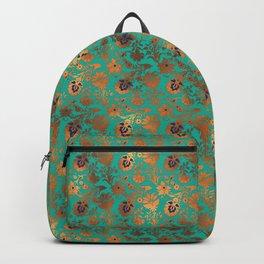 Damask Patina Turquoise Gold Foil Metallic Backpack