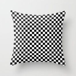 Classic Black and White Race Check Checkered Geometric Win Throw Pillow