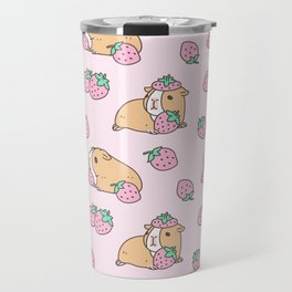 Pink Strawberries and Guinea pig pattern Travel Mug