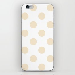Large Polka Dots - Champagne Orange on White iPhone Skin