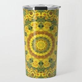 Sunflowers, Floral mandala-style, Flower Mandala Travel Mug
