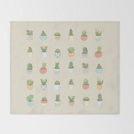 Cute Succulents Throw Blanket