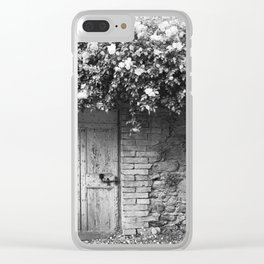 Old Italian wall overgrown with roses Clear iPhone Case