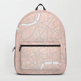 RoseGold on White London Street Map II Backpack