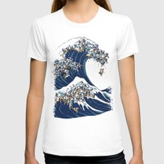 The Great Wave of Pug MEDIUM White Womens Fitted Tee
