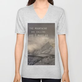 The Mountains are calling, and I must go.  John Muir. Vintage. Unisex V-Neck