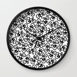 Black Bikes Pattern Wall Clock