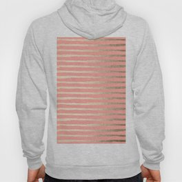 Abstract Stripes Gold Coral Pink Hoody