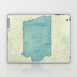 Iowa State Map Blue Vintage Laptop & iPad Skin
