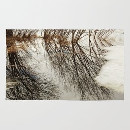 Willow tree reflection Rug