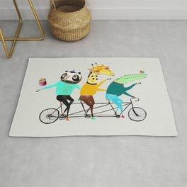 Animals biking. bike art, bike decor, bikes. Rug