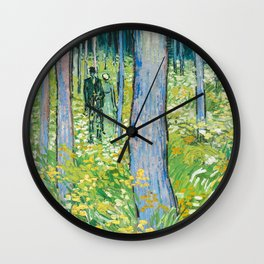 Undergrowth with Two Figures by Vincent van Gogh Wall Clock