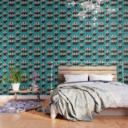 Badger Pattern on Teal / Turquise Wallpaper