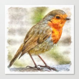 Christmas Robin Winter Watercolor Canvas Print