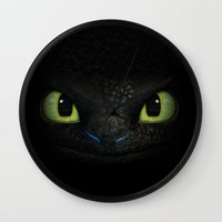 toothless Wall Clocks featuring Toothless  by aleha