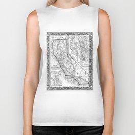Vintage Map of California (1860) BW Biker Tank