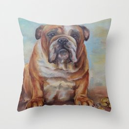 Dogmoney Funny portrait of English Bulldog with money Oil painting on canvas Throw Pillow