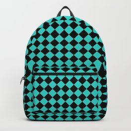 Black and Turquoise Diamonds Backpack