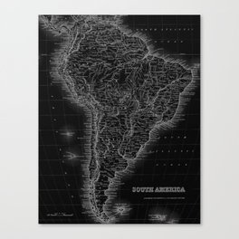 South America Antique Map Canvas Print
